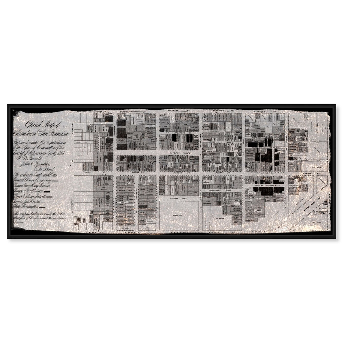 Front view of Chinatown 1885 featuring maps and flags and urban maps art.