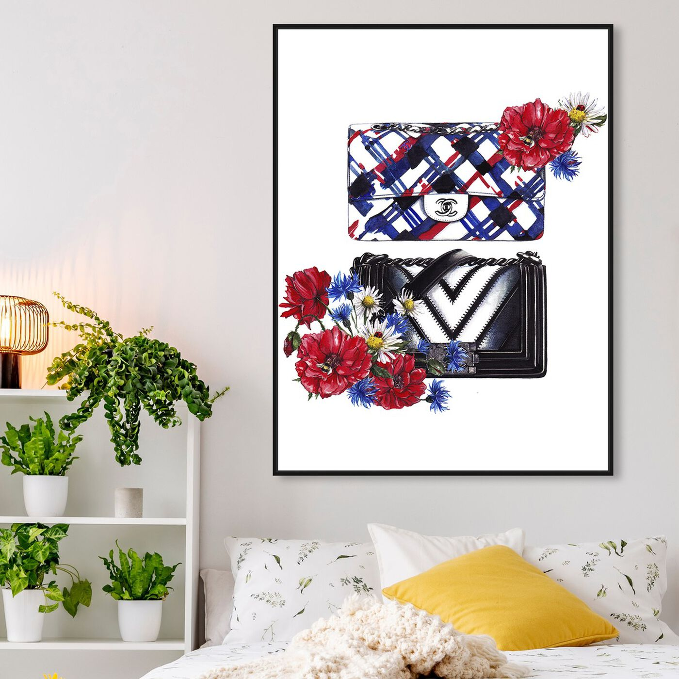 Hanging view of Doll Memories - Bags Floral featuring fashion and glam and handbags art.