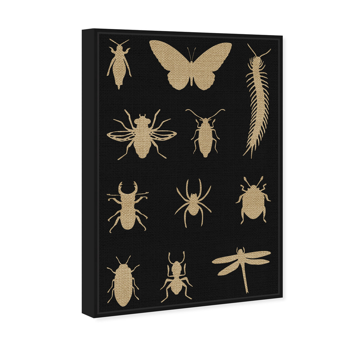 Angled view of Black Creepy Crawlies featuring animals and insects art.