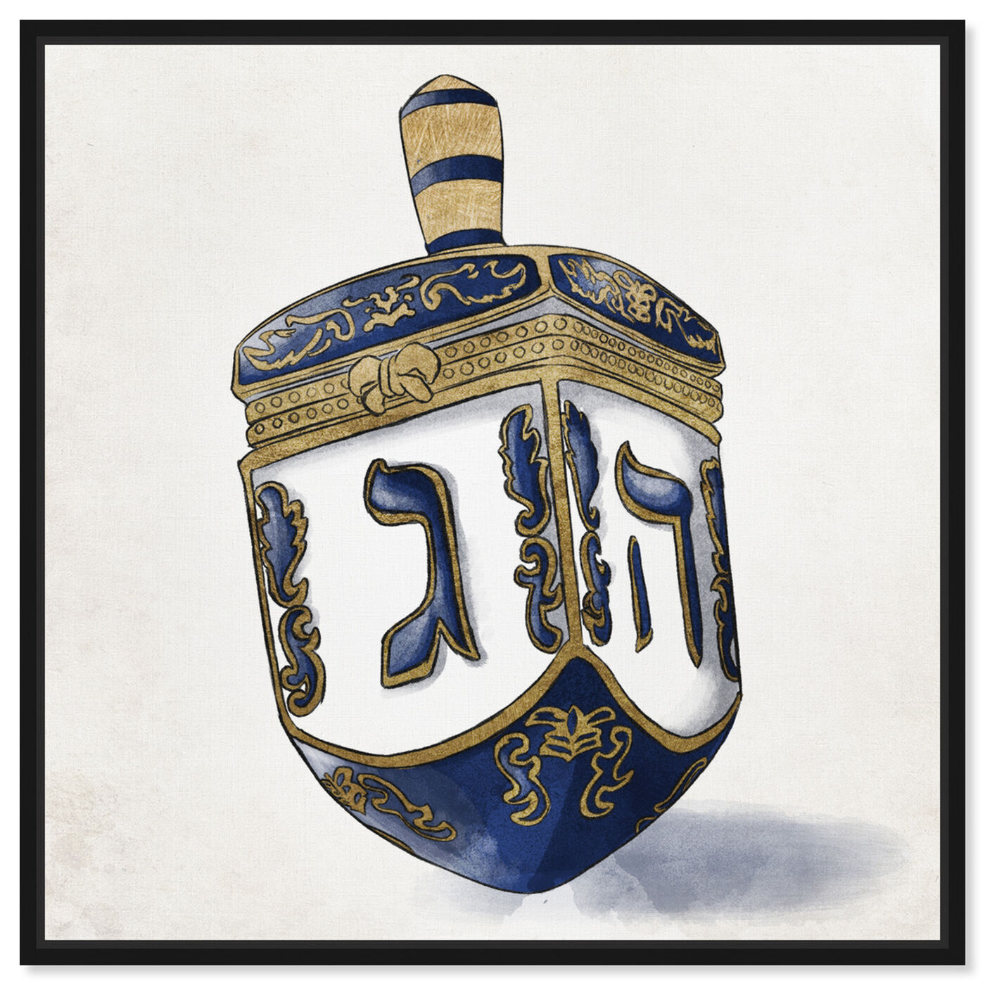 Front view of Decorated Dreidel Artwork featuring entertainment and hobbies and board games art.