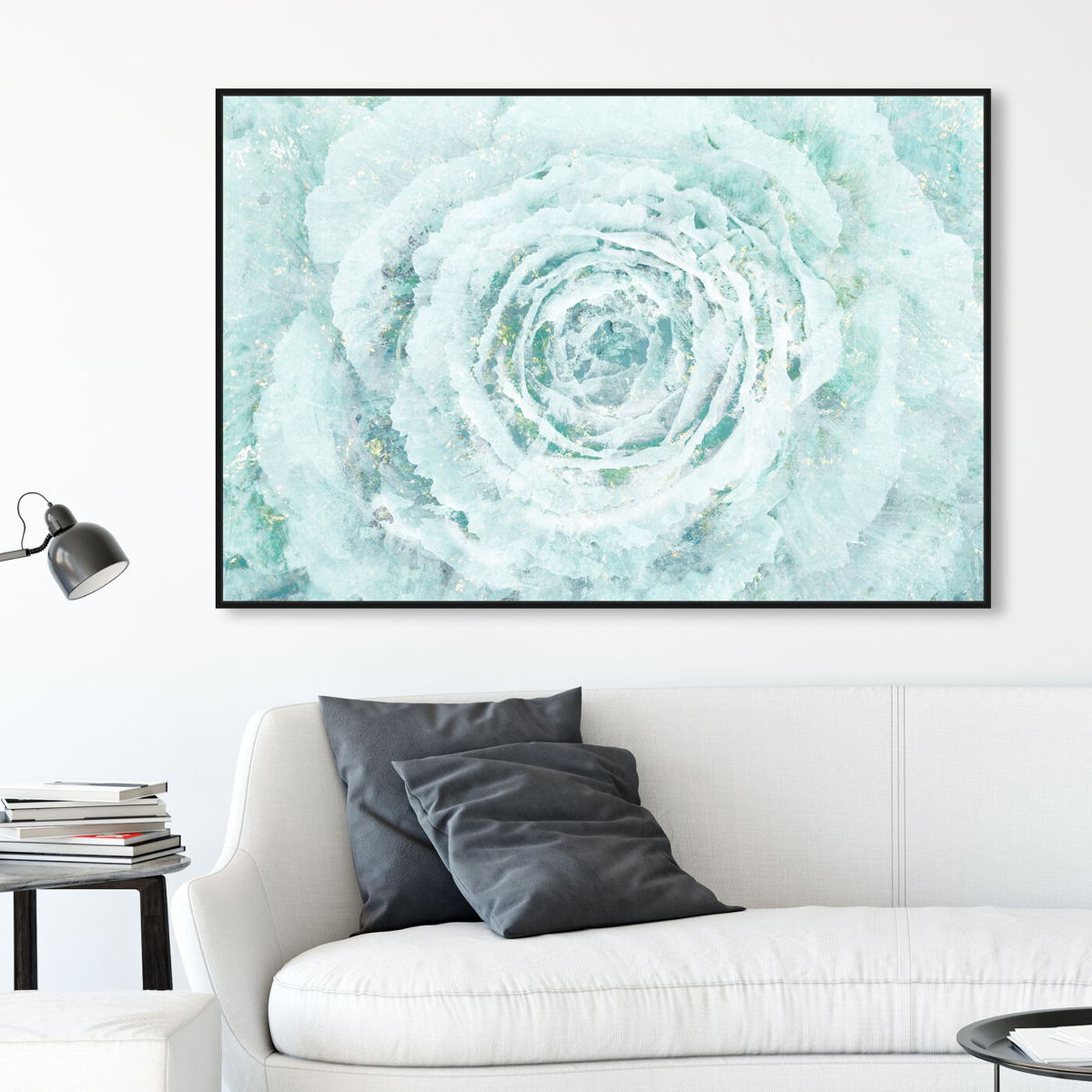 Hanging view of Blush Winter Flower featuring floral and botanical and florals art.