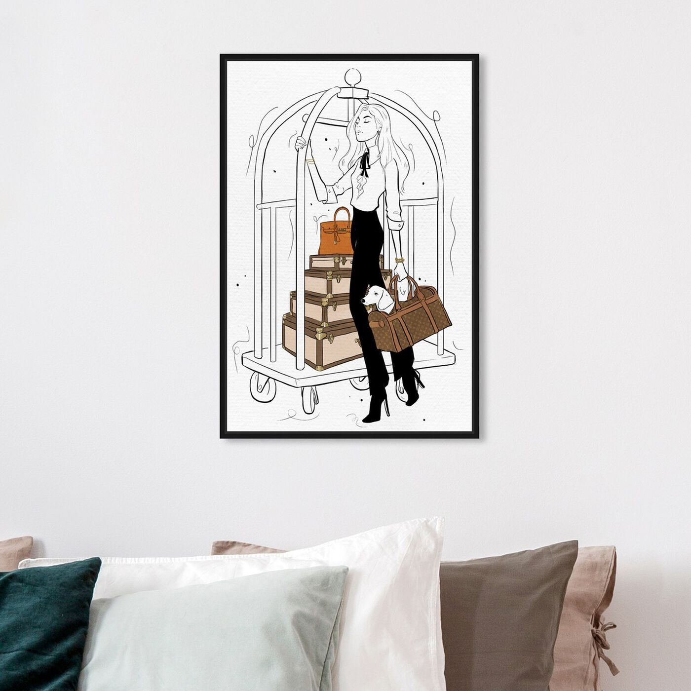 Hanging view of Traveling with Ease featuring fashion and glam and travel essentials art.