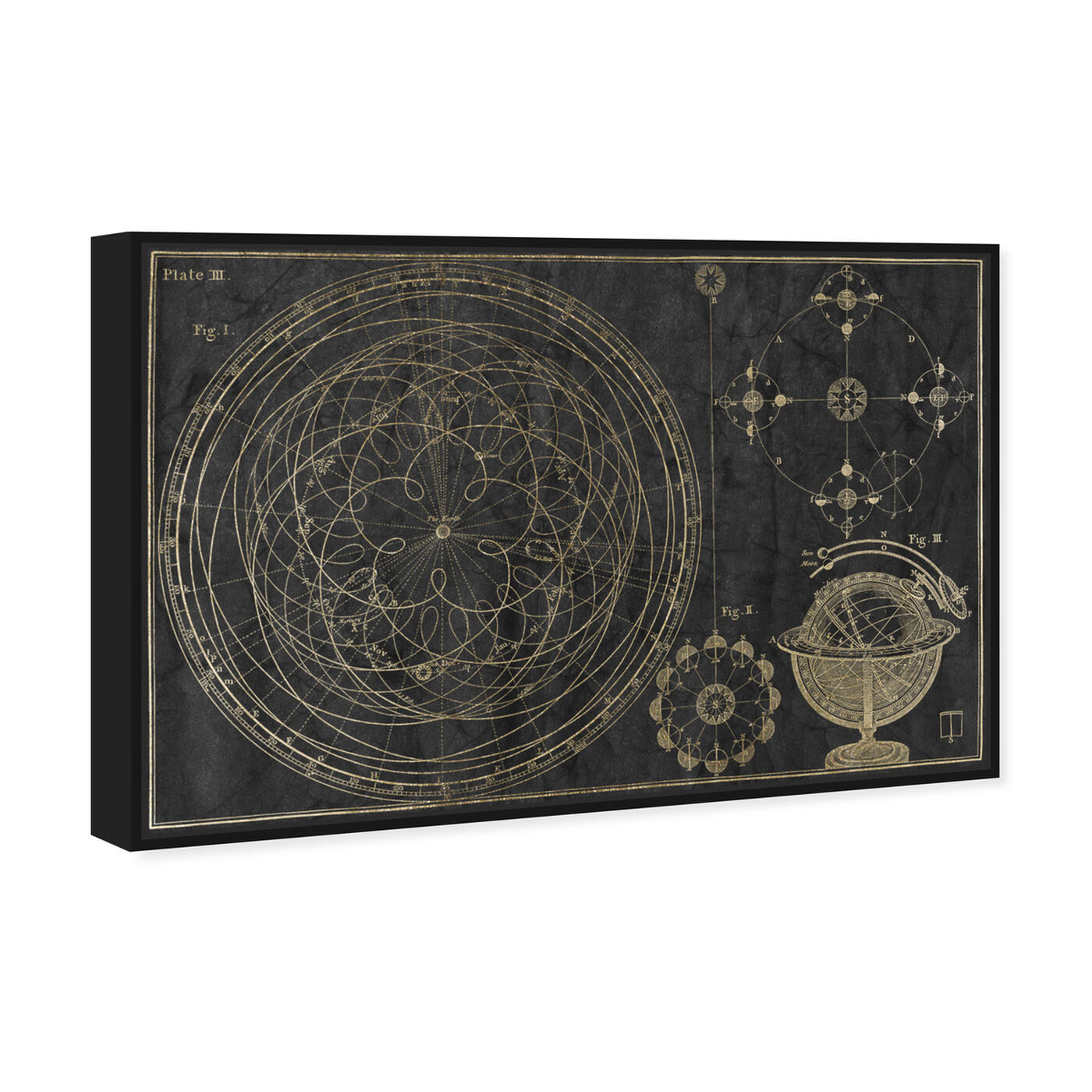 Angled view of Floreali Astronomic Plate featuring astronomy and space and telescopes art.