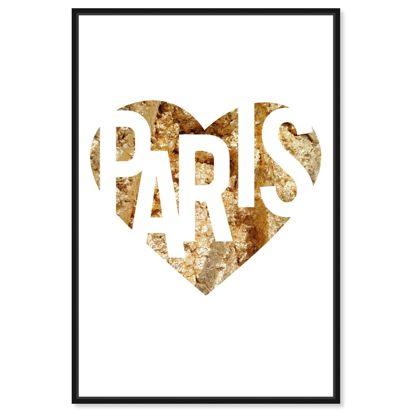 Front view of I Love Paris Gold featuring fashion and glam and hearts art.
