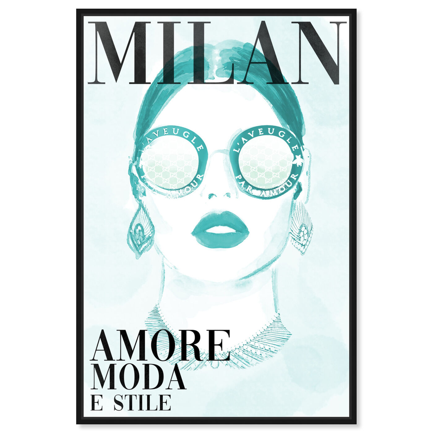 Front view of Cover Watercolor Milan Aqua featuring fashion and glam and portraits art.
