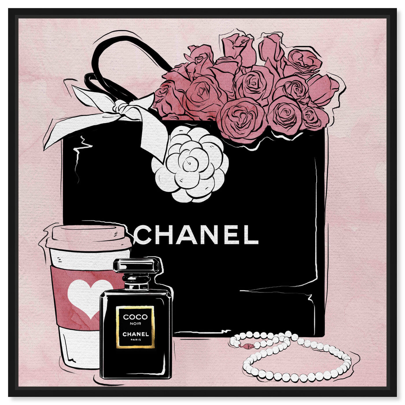 Front view of Shopping and Coffee featuring fashion and glam and handbags art.