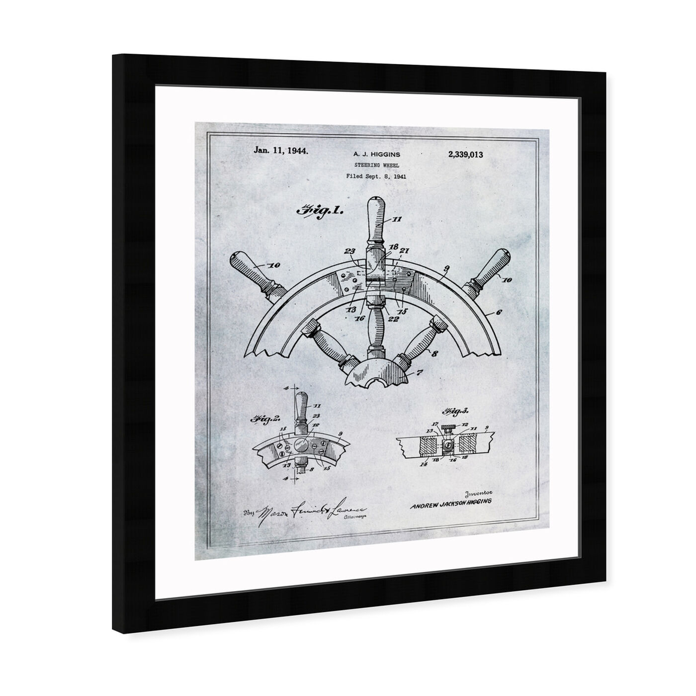 Angled view of Steering Wheel 1944 featuring nautical and coastal and nautical terms art.