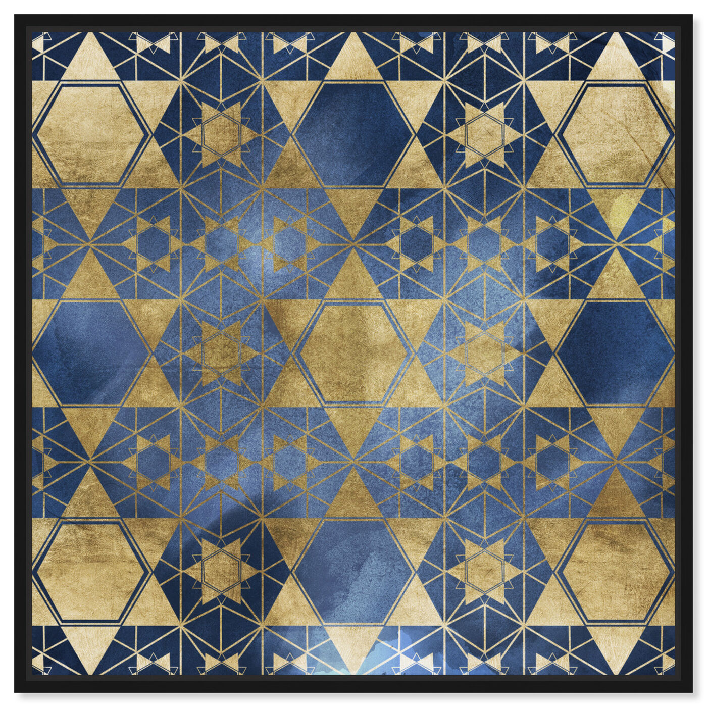 Front view of Golden Blue Star Decorative featuring abstract and patterns art.