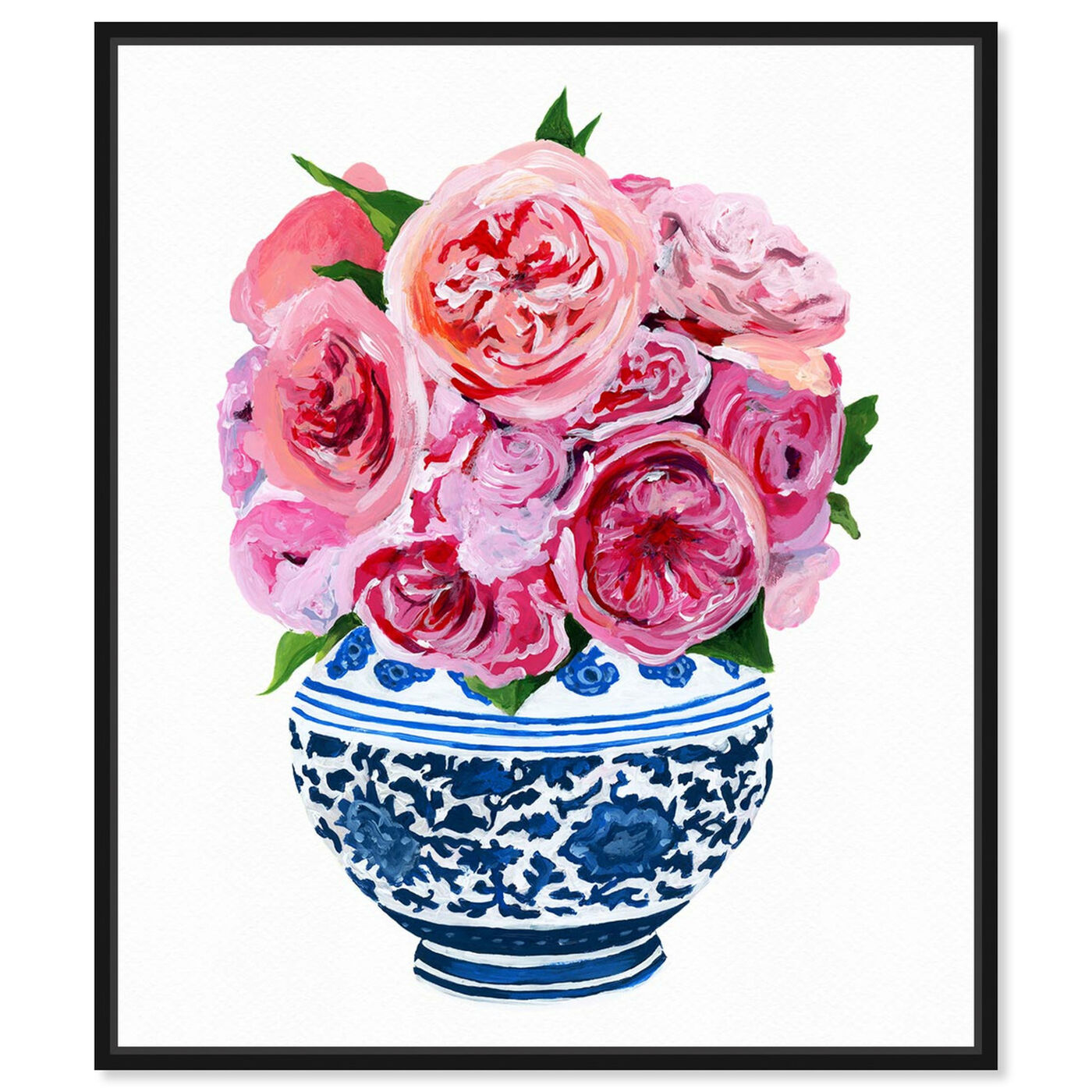 Front view of Peonie Vase I featuring floral and botanical and florals art.