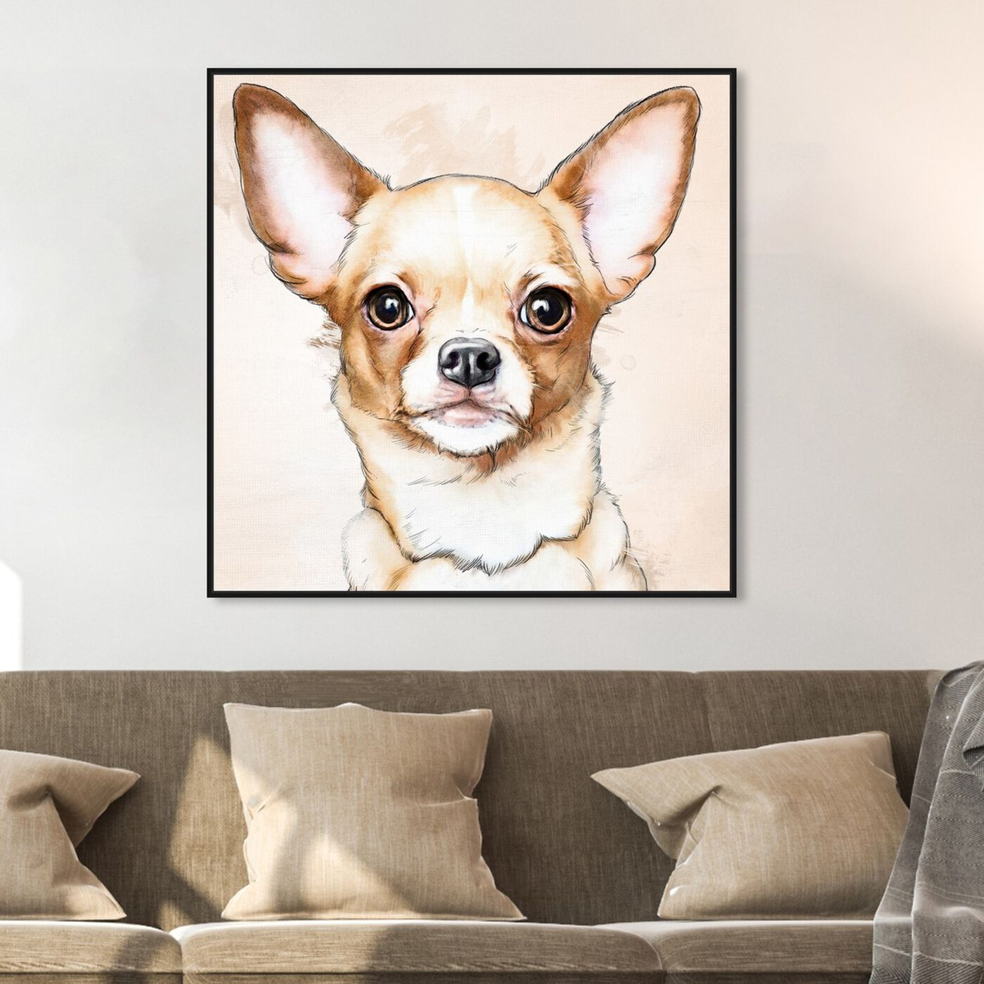 Hanging view of Chihuahua Watercolor featuring animals and dogs and puppies art.