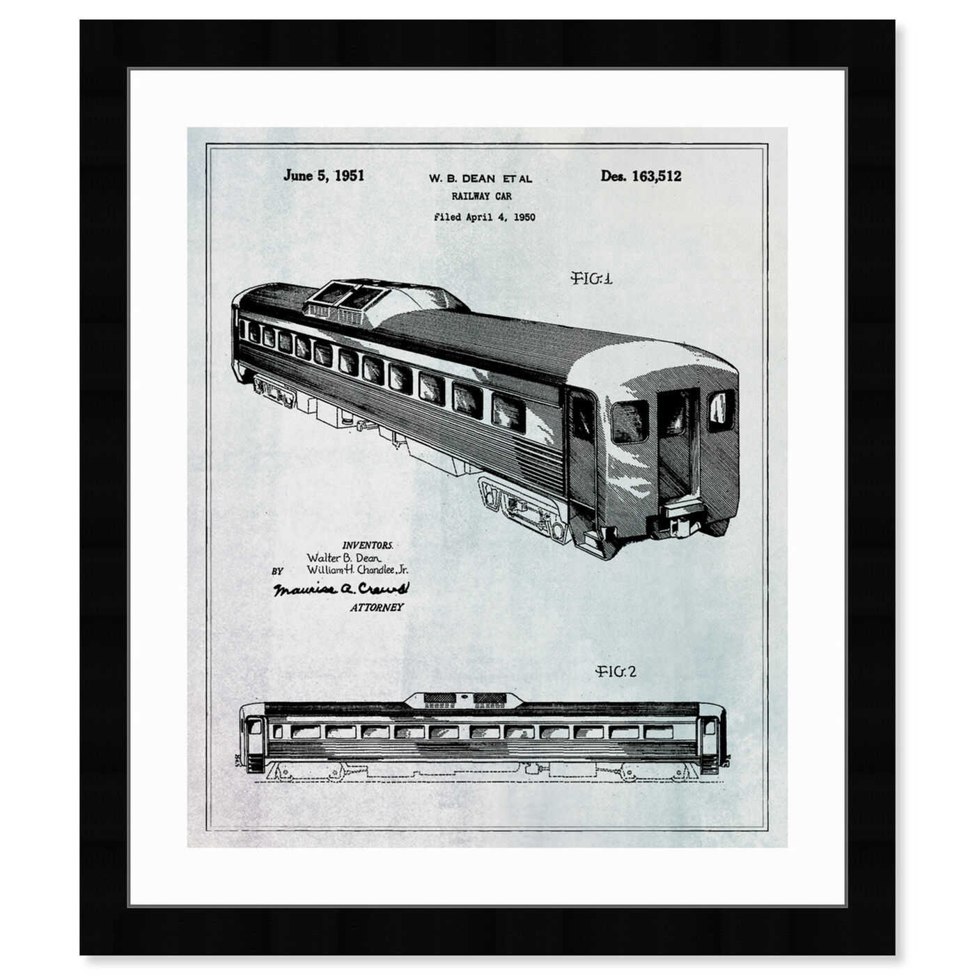 Front view of Railway Car 1951 featuring transportation and trains art.