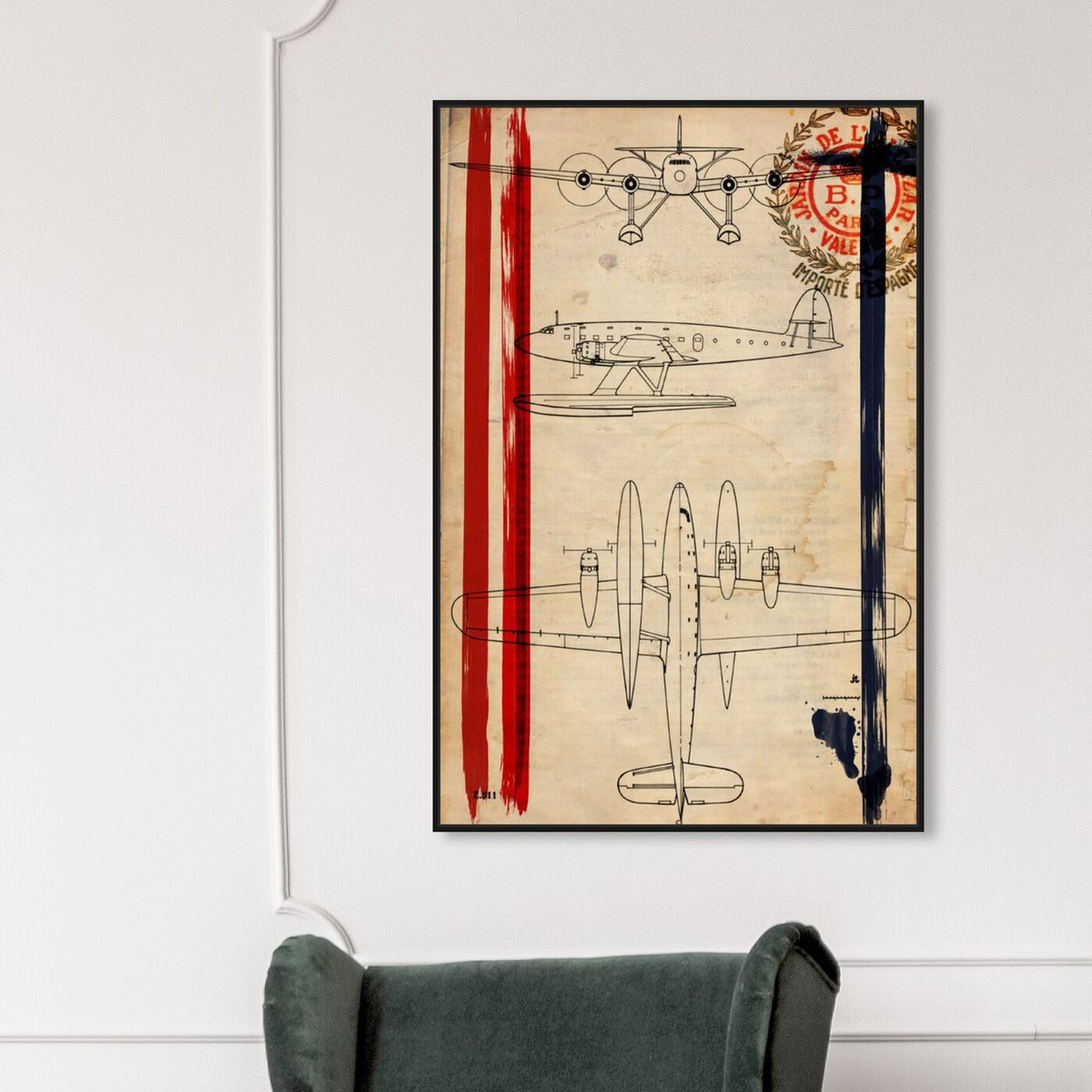 Hanging view of Air Espagne France 1944 featuring transportation and airplanes art.