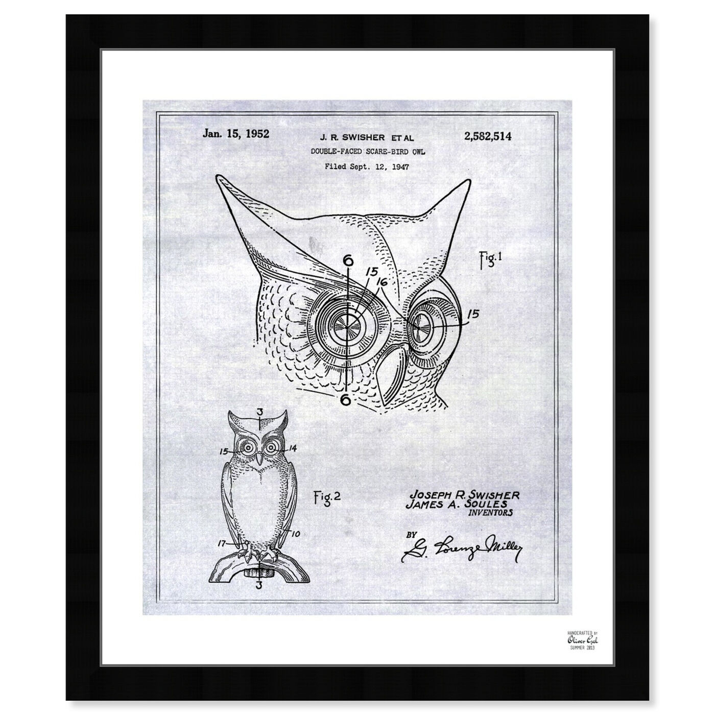 Front view of Owl 1952 featuring animals and birds art.