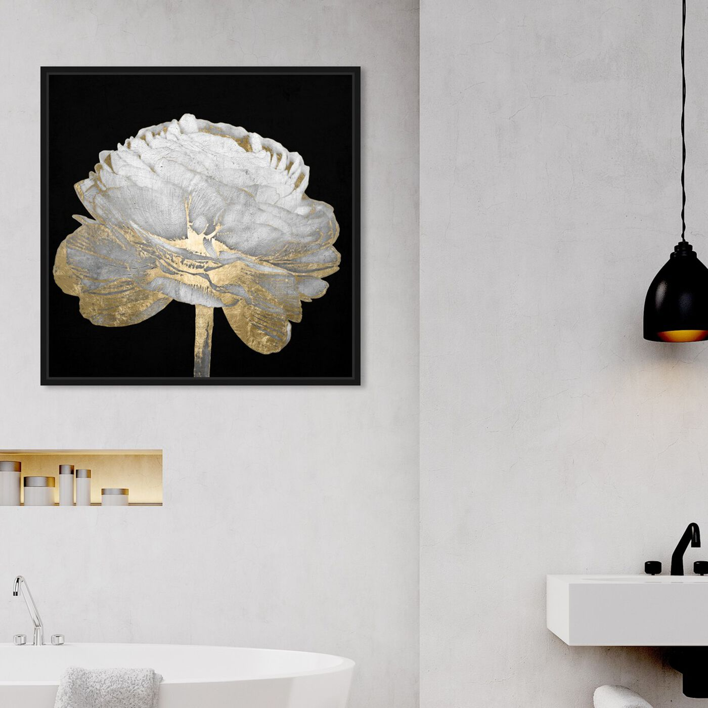 Hanging view of Gold and Light Floral II featuring floral and botanical and florals art.