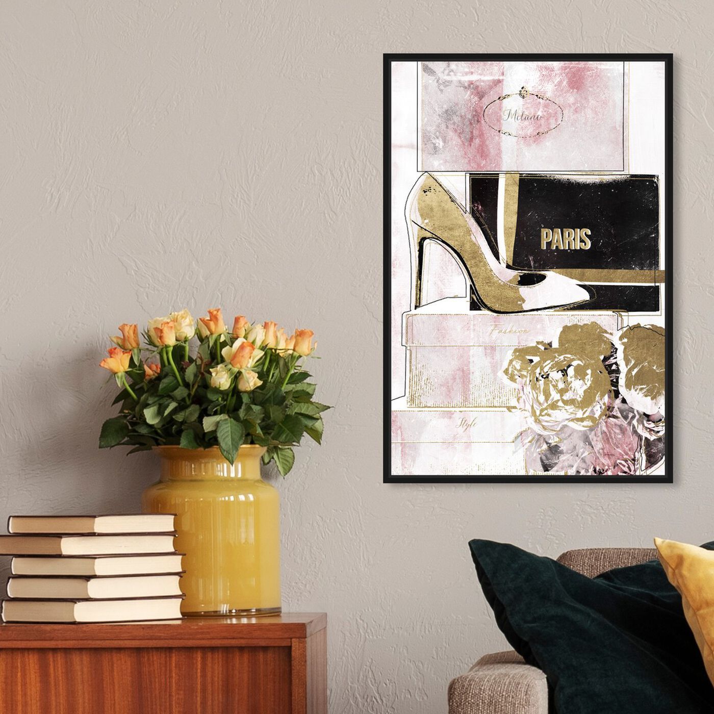 Hanging view of Stacked Shoes Rose Love featuring fashion and glam and shoes art.