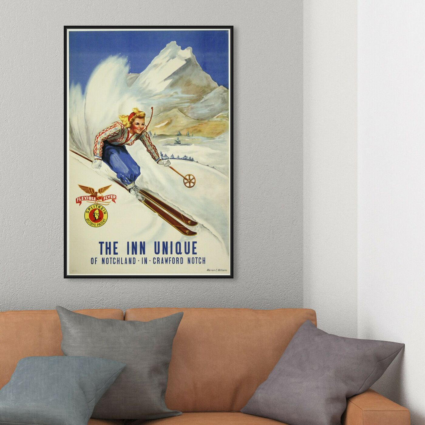 Hanging view of The Inn Unique featuring sports and teams and skiing art.