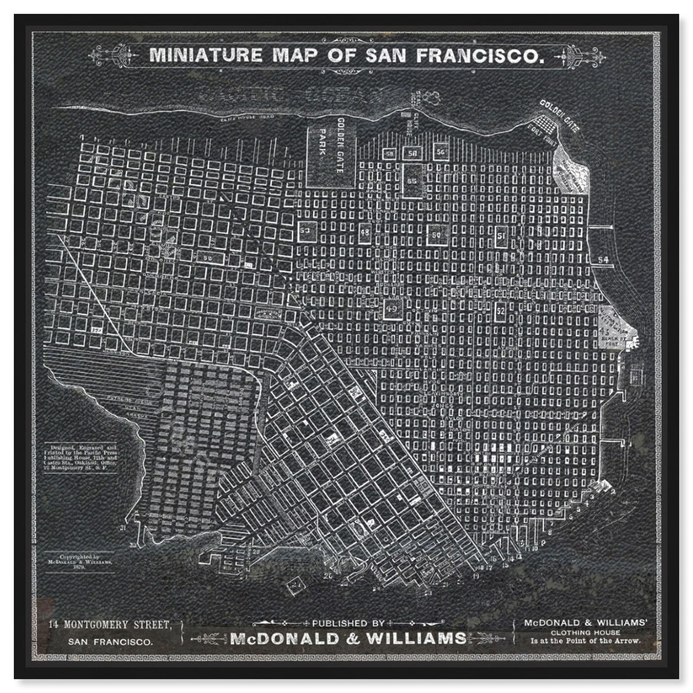 Front view of San Francisco Map 1879 featuring maps and flags and us cities maps art.