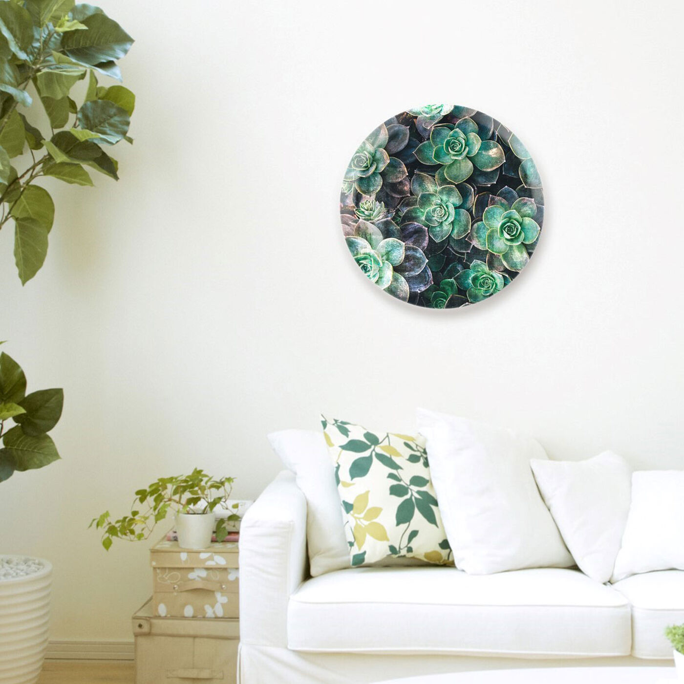 Hanging view of Suculents Circle featuring floral and botanical and botanicals art.