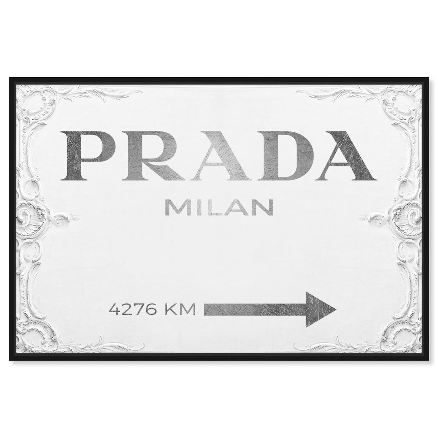 Front view of Milan Sign featuring fashion and glam and road signs art.