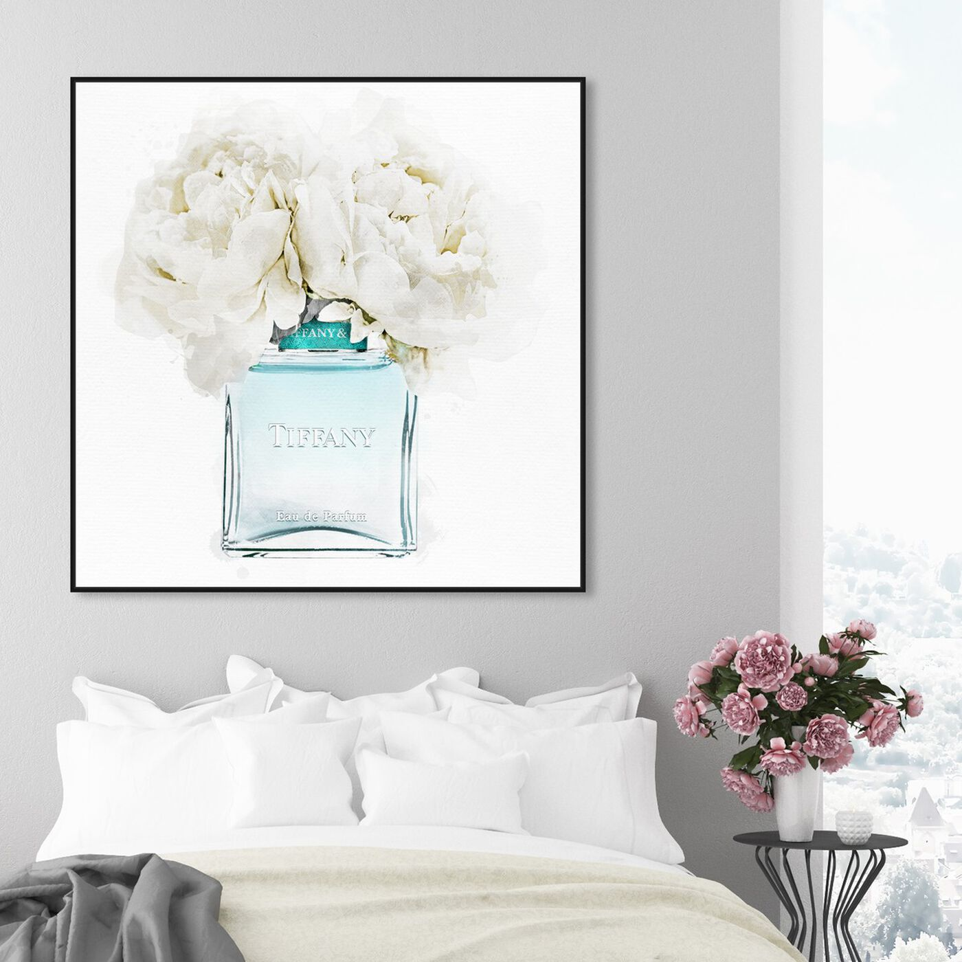 Hanging view of Dawn Morning Bouquet Aquamarine featuring fashion and glam and perfumes art.