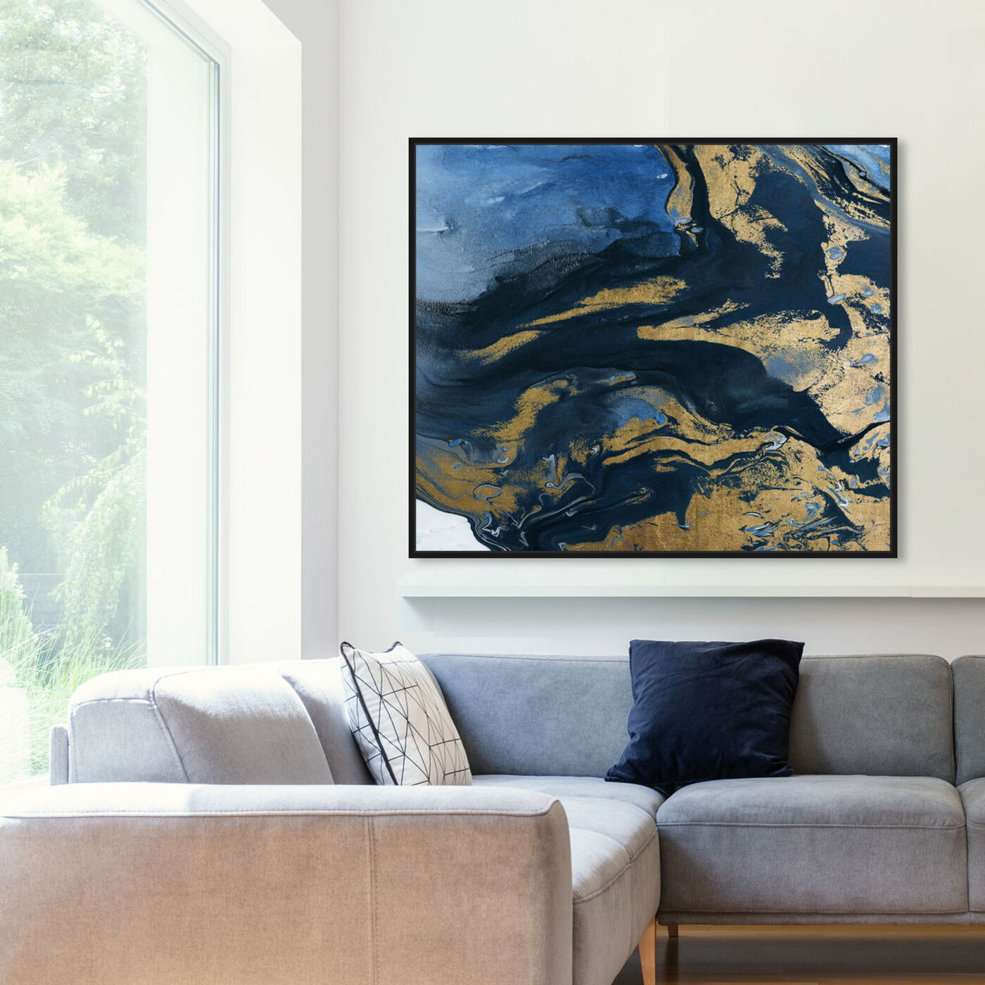 Hanging view of Smooth Gold featuring abstract and paint art.