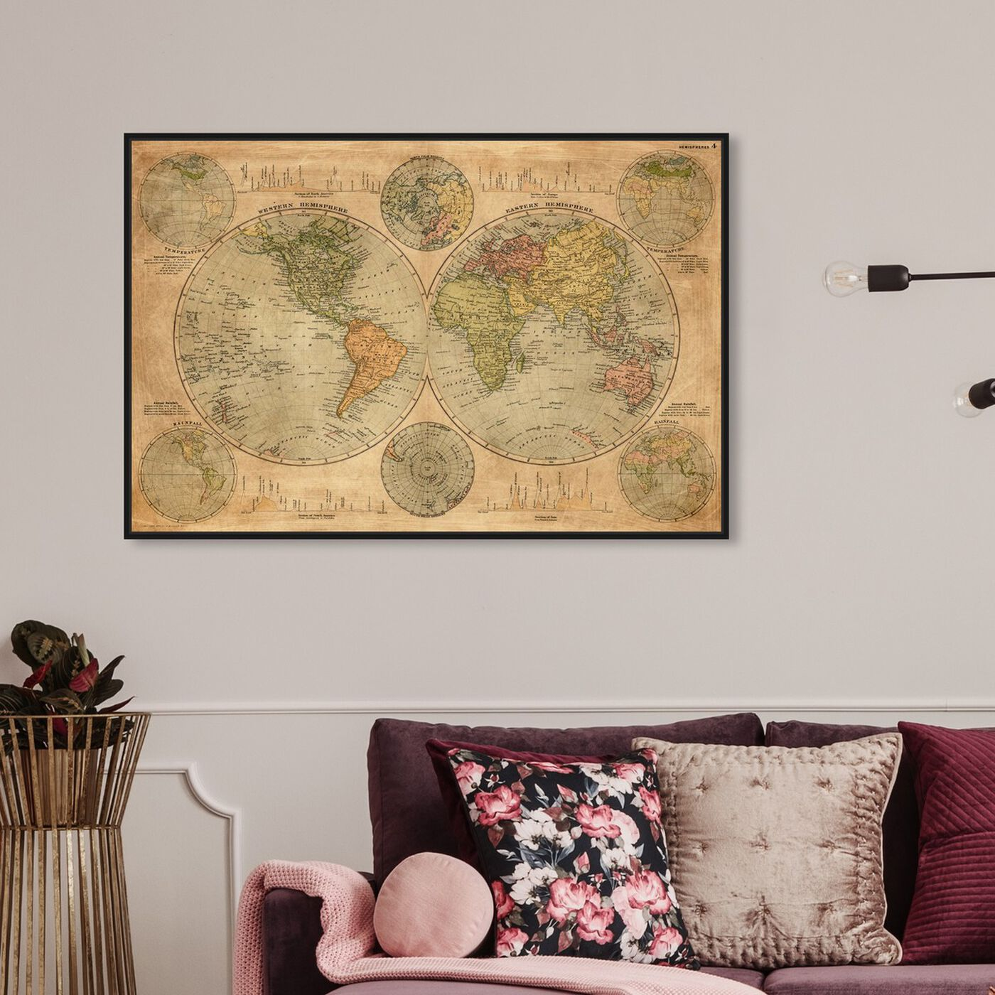 Hanging view of Hemispheres Map 1891 featuring maps and flags and world maps art.