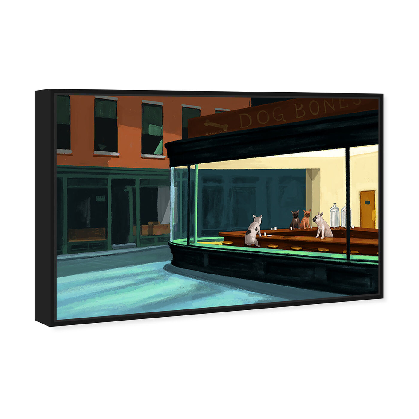Angled view of Night Dogs By Carson Kressley featuring animals and dogs and puppies art.