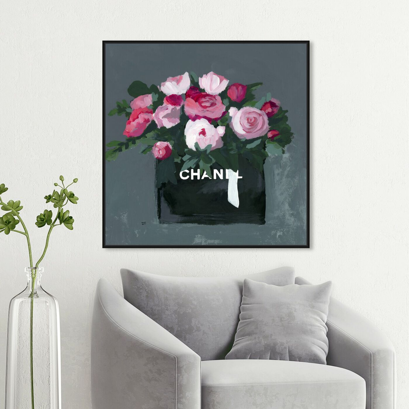 Hanging view of Pink Bouquet featuring fashion and glam and lifestyle art.