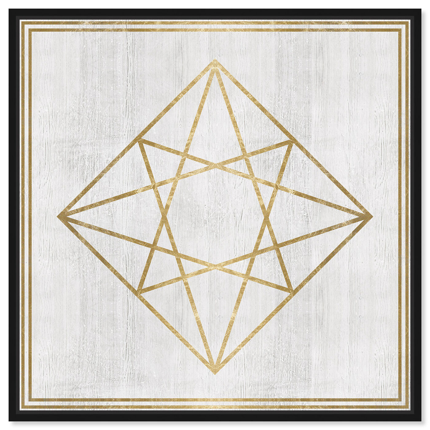 Front view of Whitewash Wood Geometric Diamond featuring abstract and geometric art.