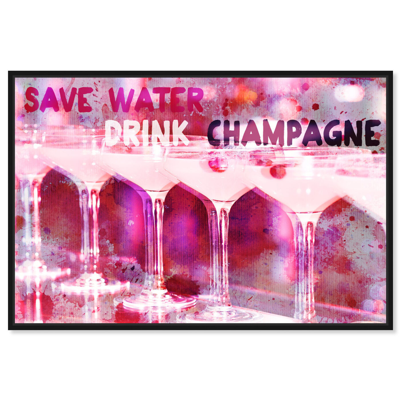 Front view of Save Water featuring drinks and spirits and champagne art.