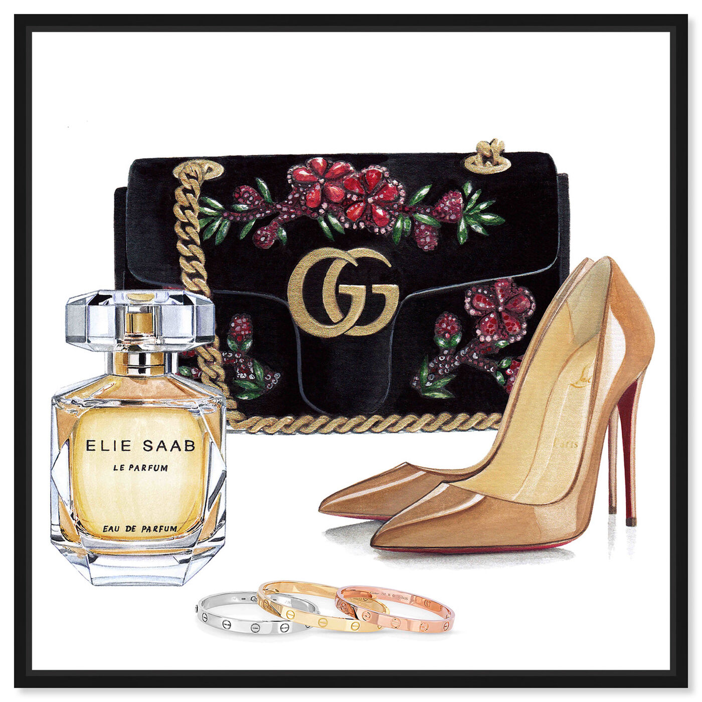 Front view of Doll Memories - Perfume and Shoes featuring fashion and glam and handbags art.