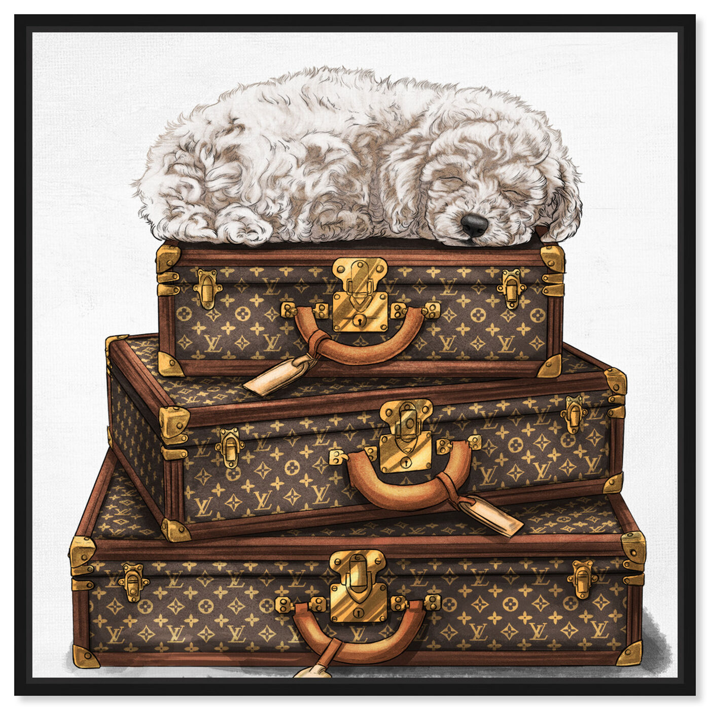 Front view of sleeping POODLE WHITE featuring fashion and glam and travel essentials art.