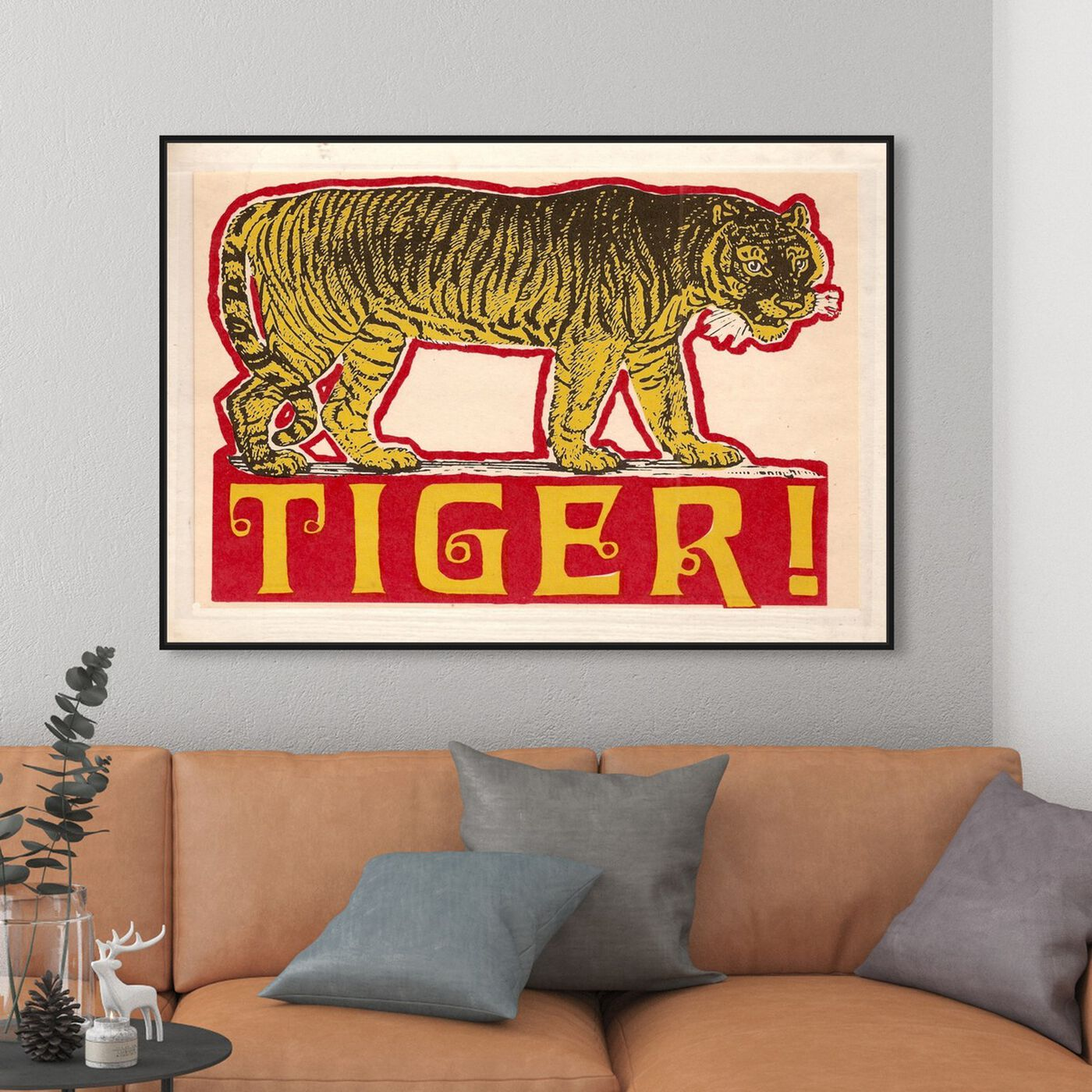 Hanging view of Indian Tiger featuring advertising and posters art.