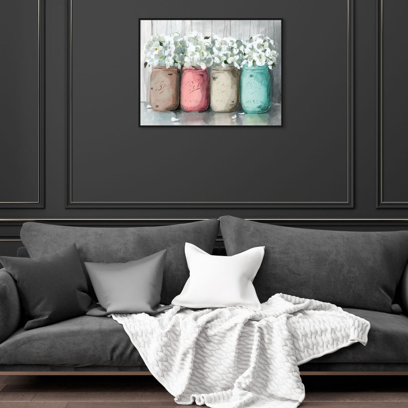 Hanging view of Mason Jar Turquoise featuring floral and botanical and florals art.