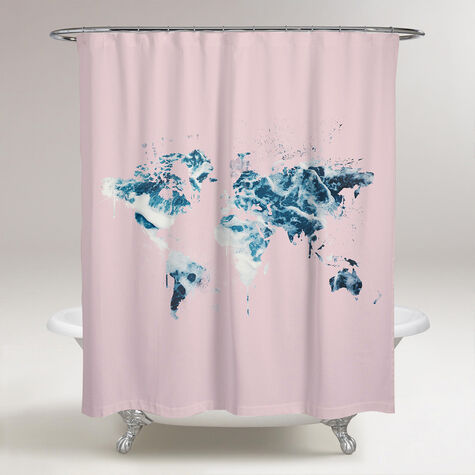 Mapamundi Millennial Pink Shower Curtain