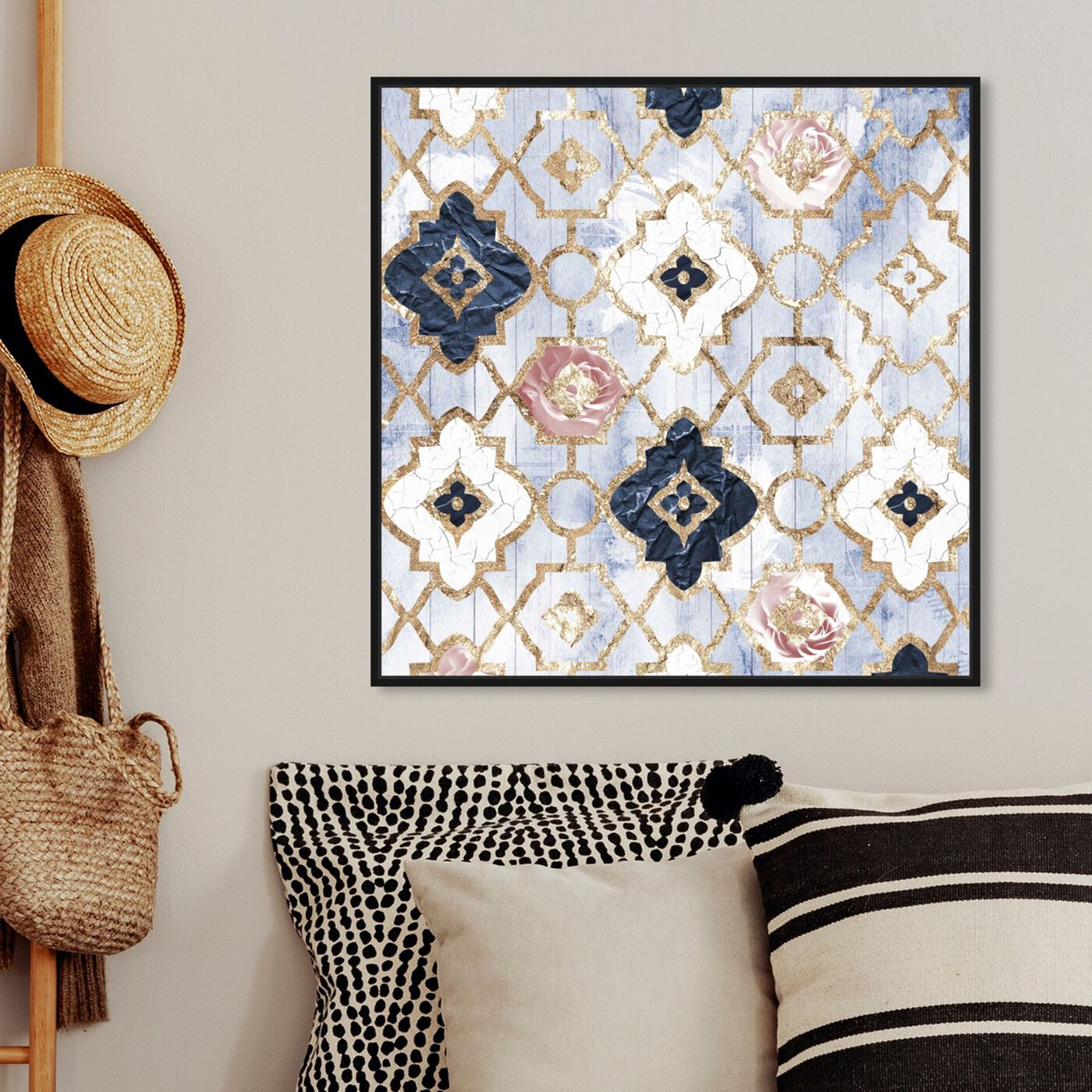 Hanging view of Rose Quartz Moroccan featuring abstract and patterns art.