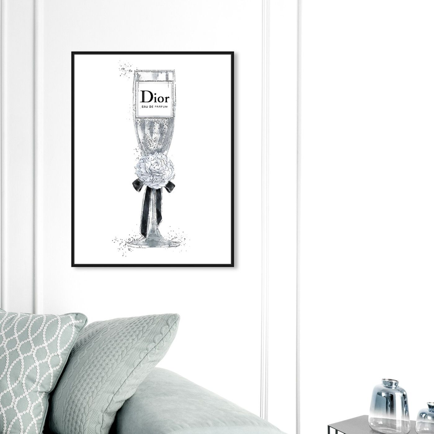 Hanging view of Crystal Bubbly Champagne Peony featuring fashion and glam and lifestyle art.