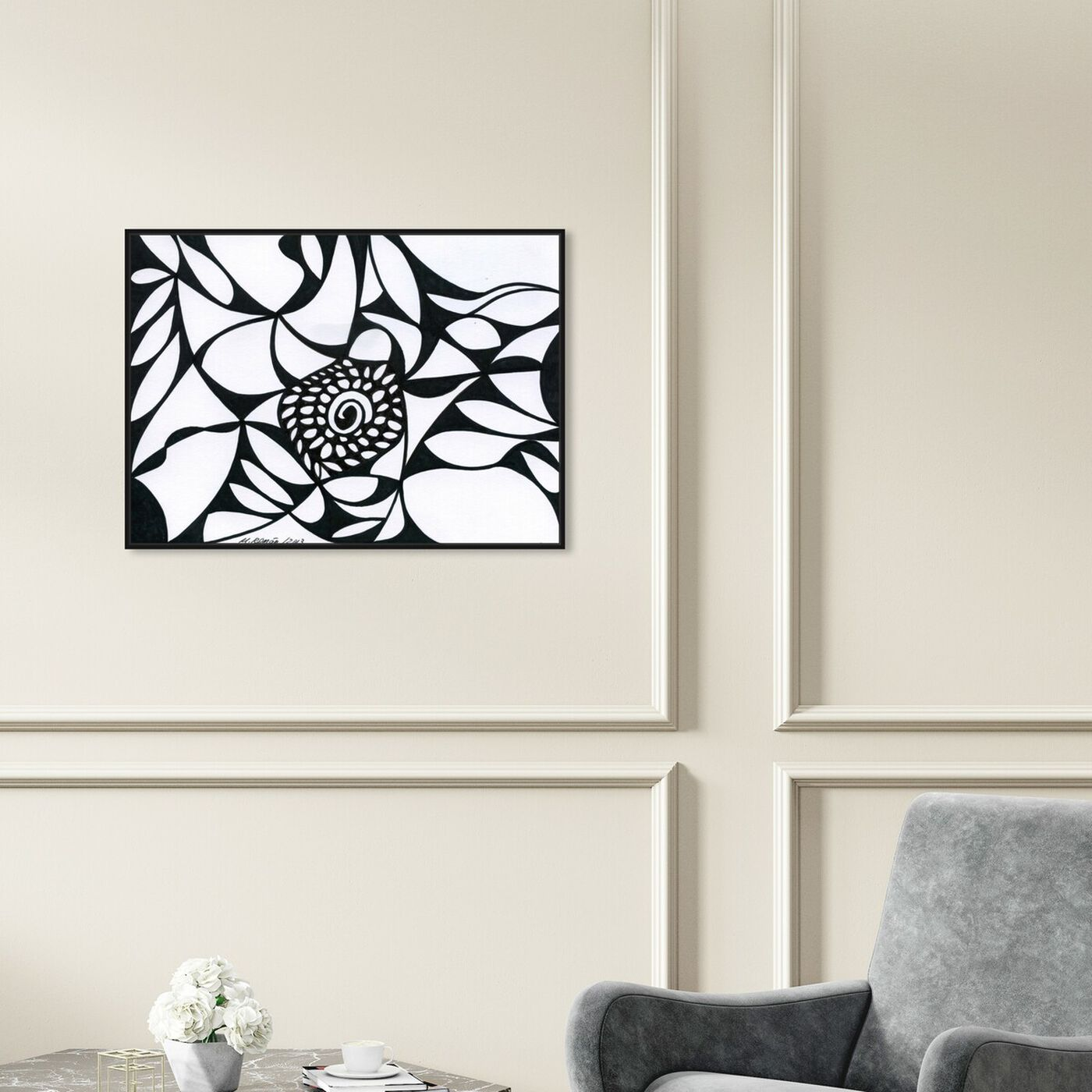 Hanging view of Blossom featuring abstract and shapes art.