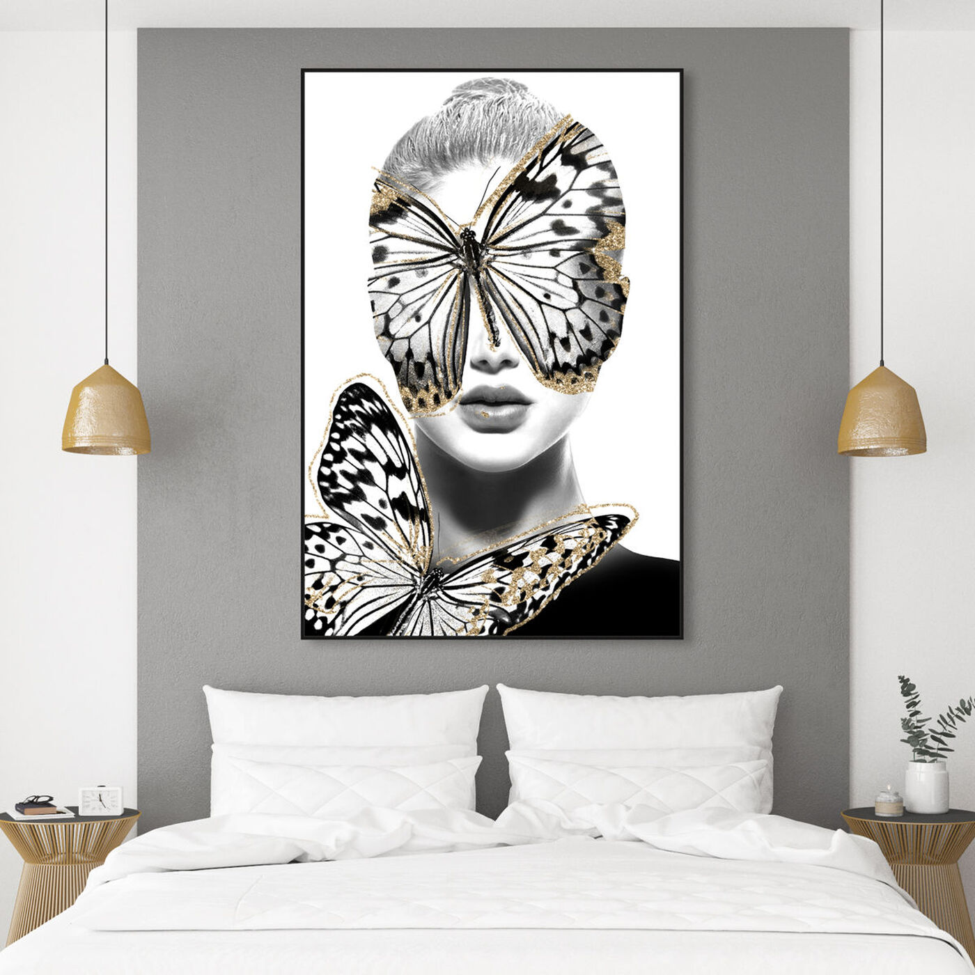 Hanging view of Duchess of Wings Blond featuring fashion and glam and portraits art.