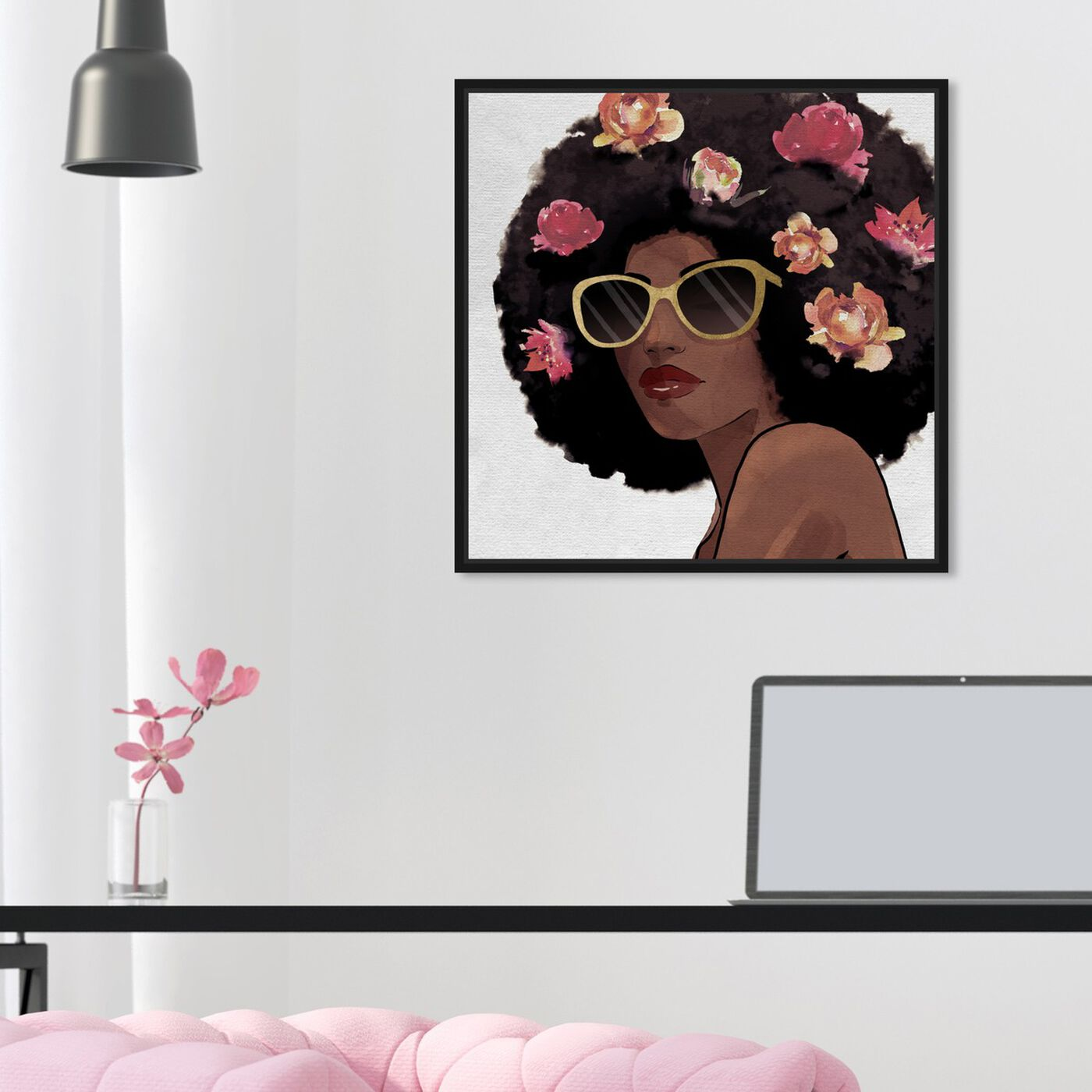 Hanging view of Flowers to Inspire Shades featuring fashion and glam and portraits art.