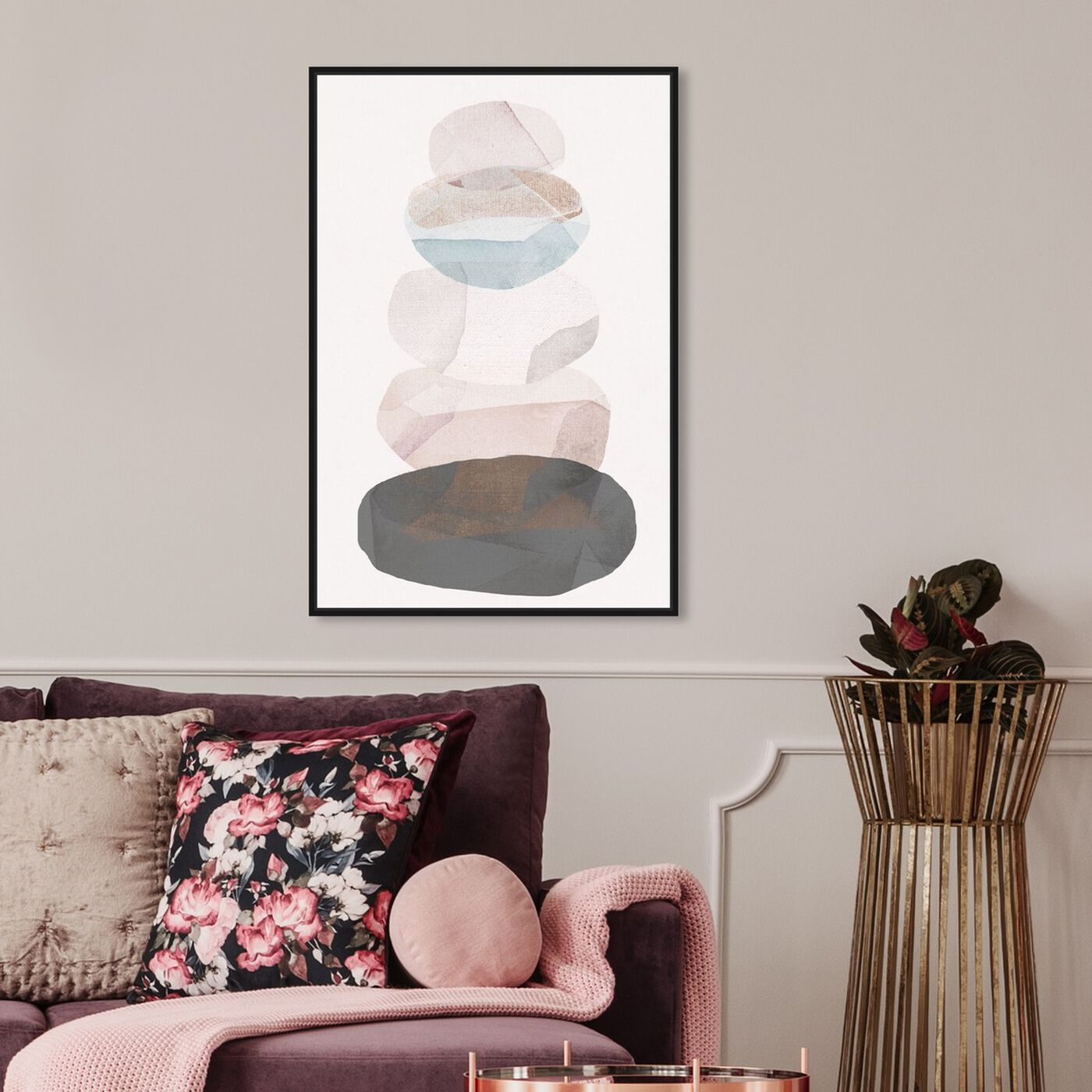 Hanging view of Pebble Stack featuring abstract and geometric art.