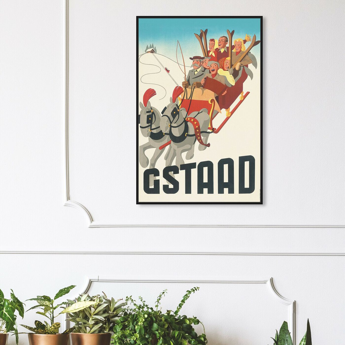 Hanging view of Gstaad featuring advertising and posters art.