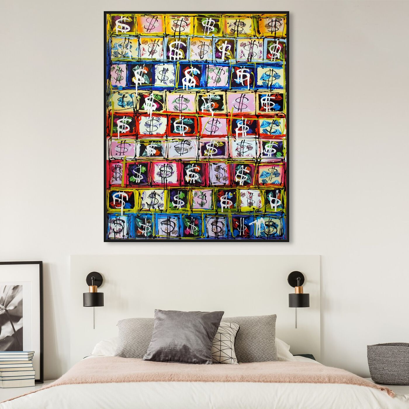 Hanging view of Money Game by Tiago Magro featuring symbols and objects and symbols art.