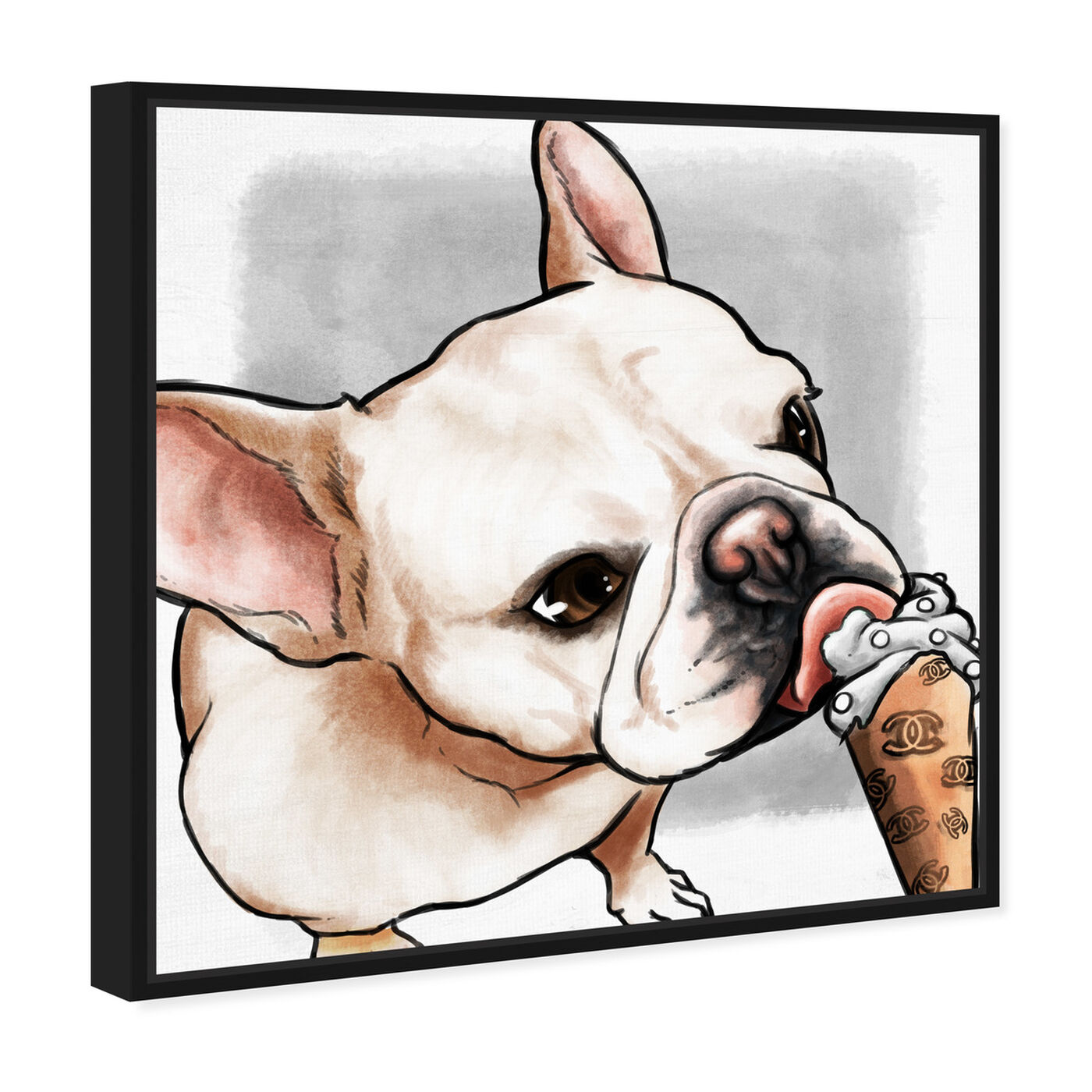 Angled view of My Favorite Treat Gray featuring animals and dogs and puppies art.
