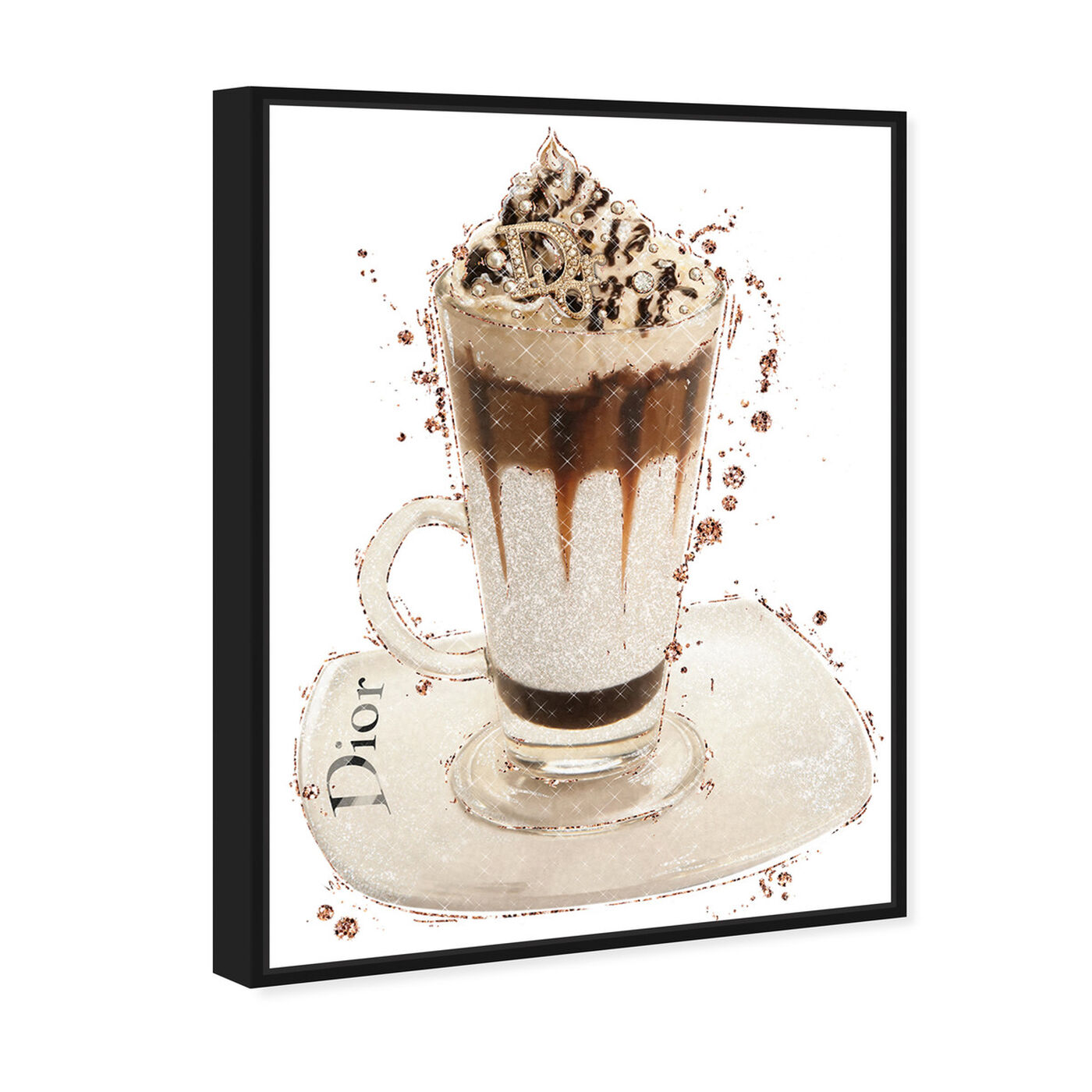 Angled view of Vanilla Creamy Frappe featuring drinks and spirits and coffee art.