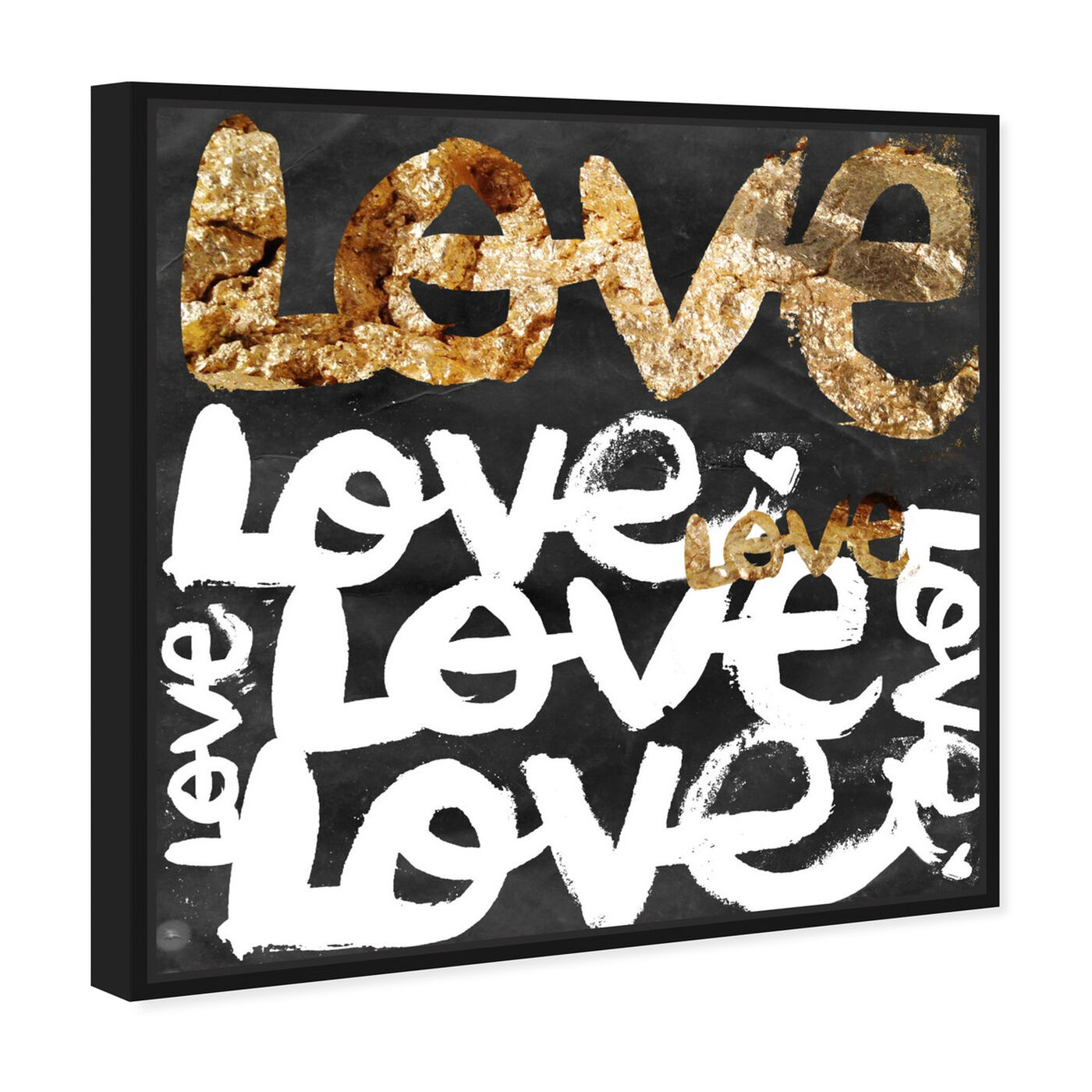 Angled view of Four Letter Word Gold featuring typography and quotes and love quotes and sayings art.