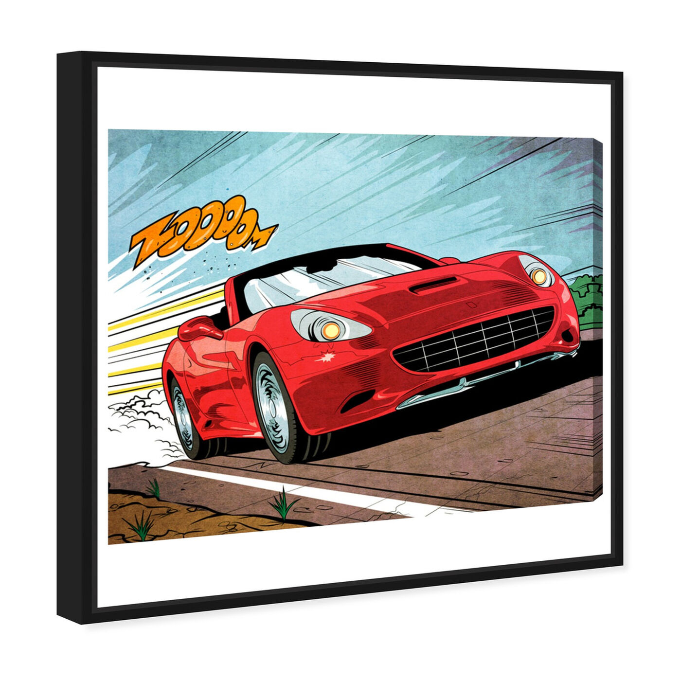 Angled view of Vroom featuring advertising and comics art.