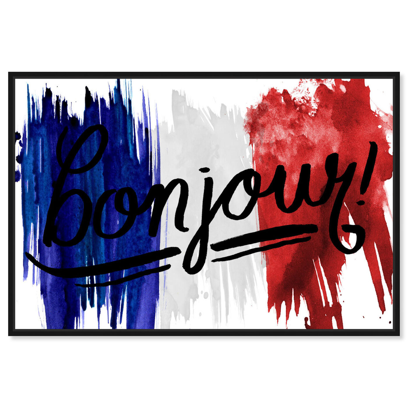 Front view of Bonjour Paris featuring typography and quotes and travel quotes and sayings art.