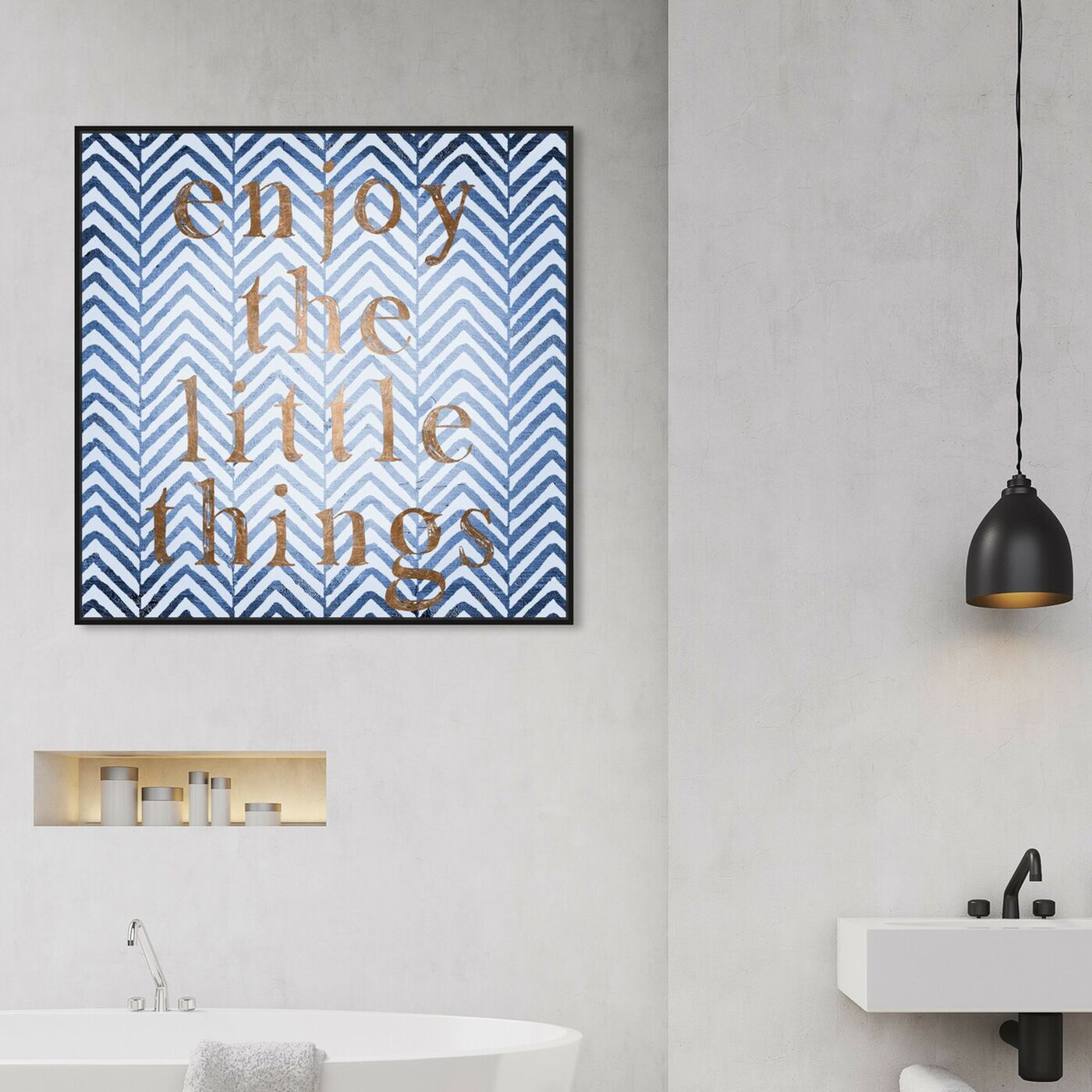 Hanging view of Enjoy The Little Blues II featuring typography and quotes and motivational quotes and sayings art.