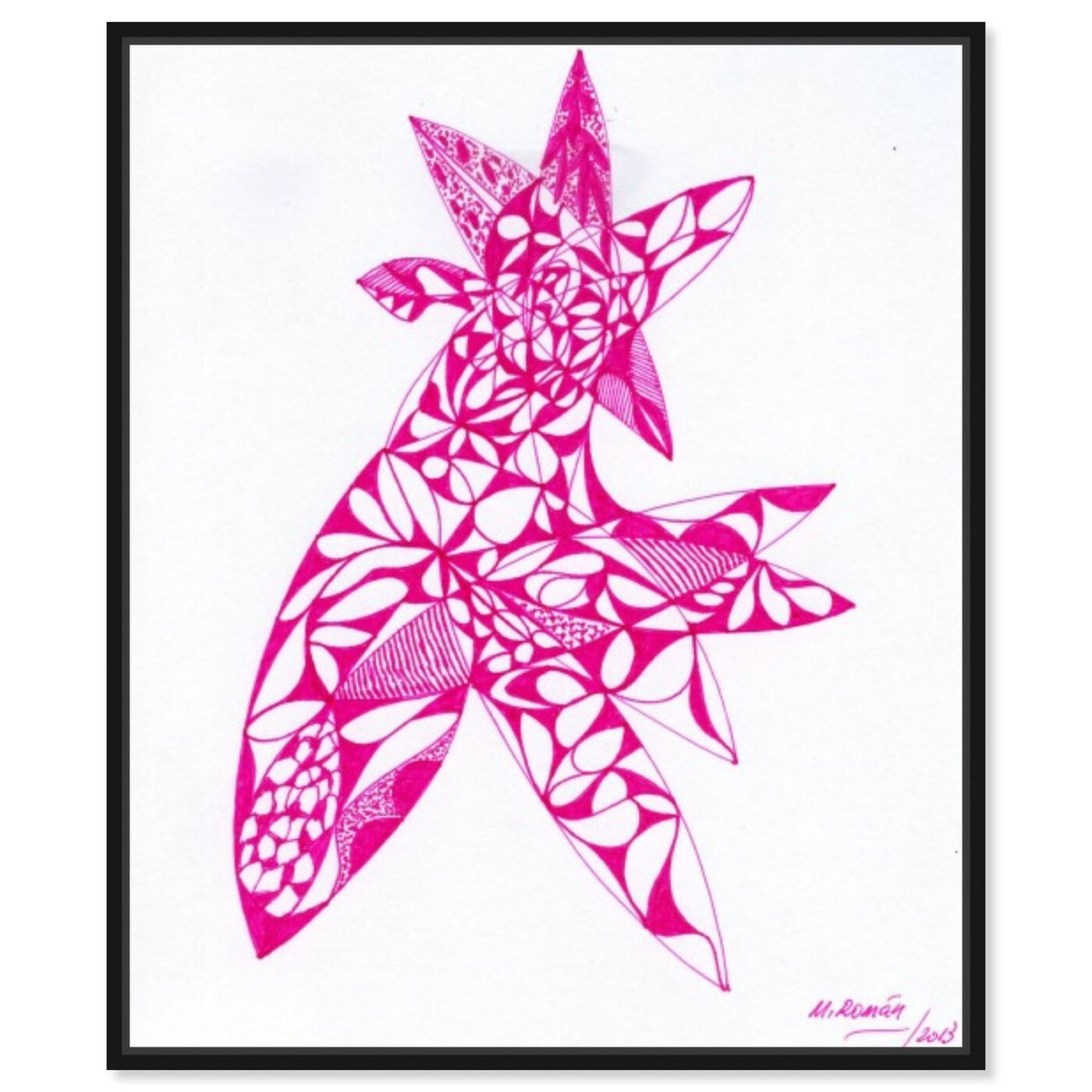Front view of Agri Rosea featuring abstract and flowers art.